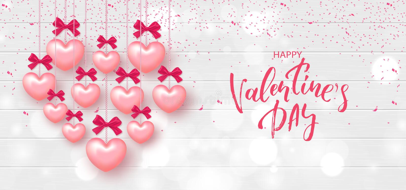 Festive Card for Happy Valentine`s Day. Background with Realistic Hearts and confetti on Wooden Texture. Vector Illustration. vector illustration