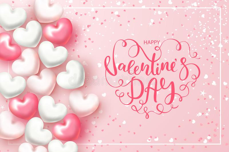 Festive Card for Happy Valentine`s Day. Background with Realistic Hearts, confetti and beautiful Lettering . Vector royalty free illustration