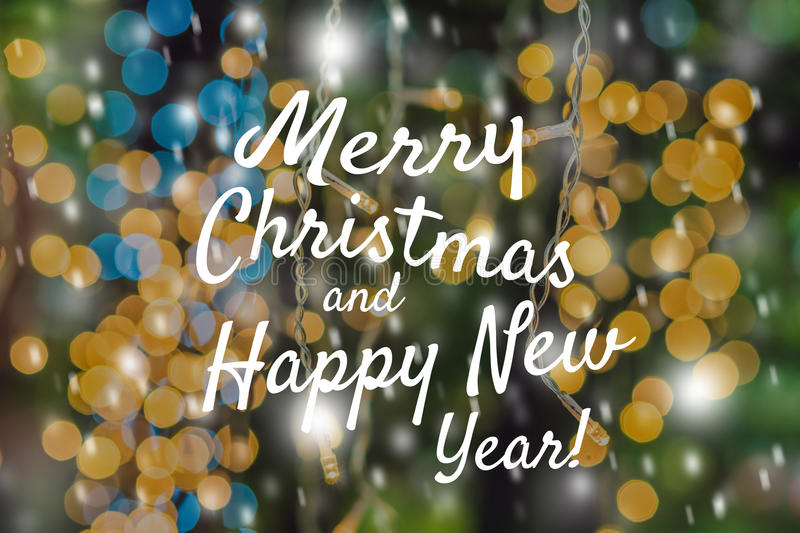 Festive Card Merry Christmas and Happy New Year Blur yellow green Abstract Background Defocused Spots Light Colors Photo Boke Desi royalty free stock images