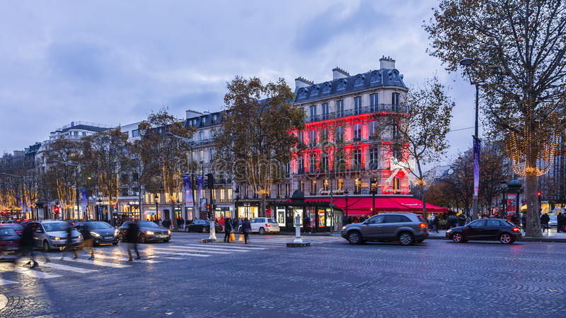 Festive Champs Elysees stock images