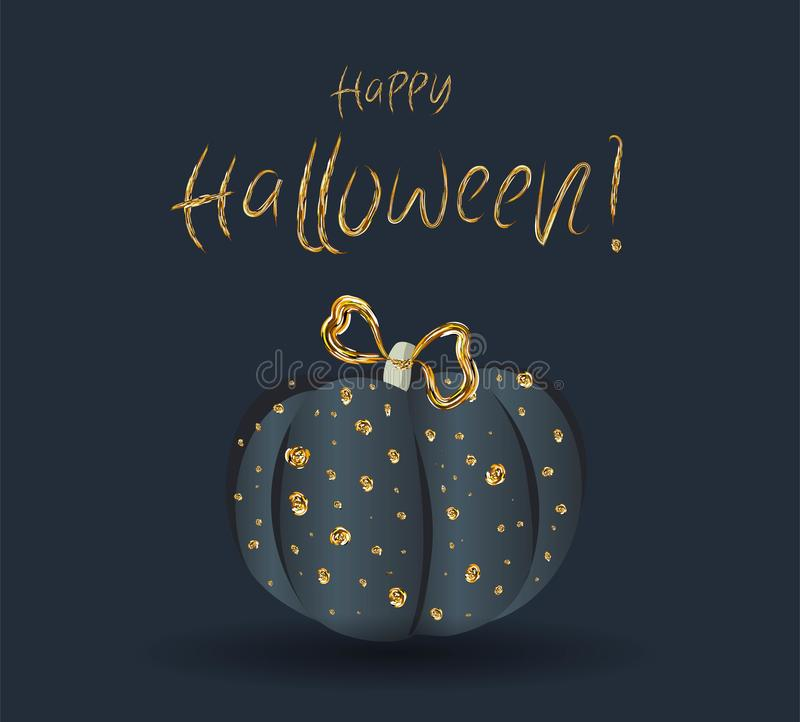 Festive chic elegant postcard. Beautiful Halloween. Golden pumpkin on a dark background stock illustration