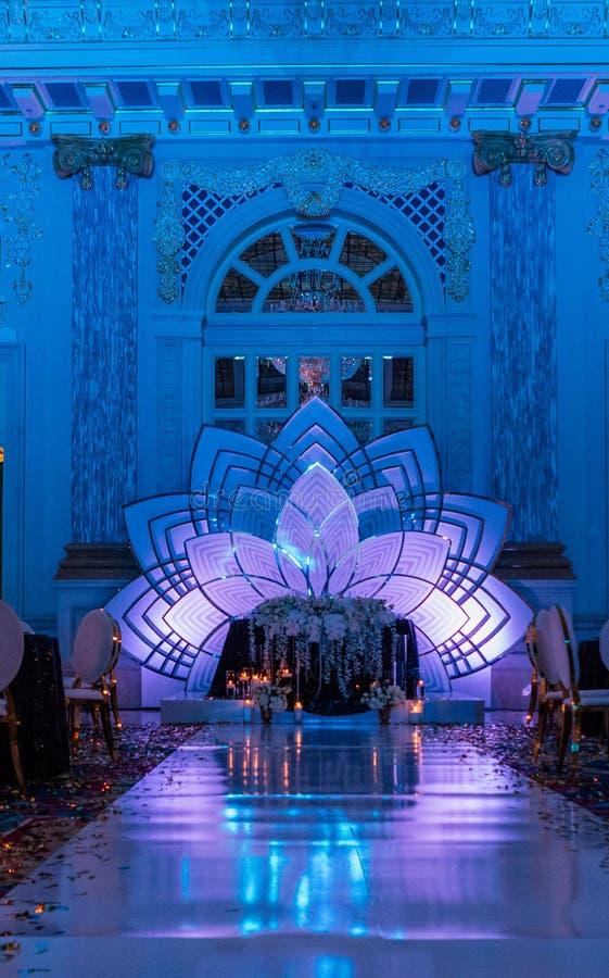 festive chic interior decor inside luxury hall blue royalty free stock photo