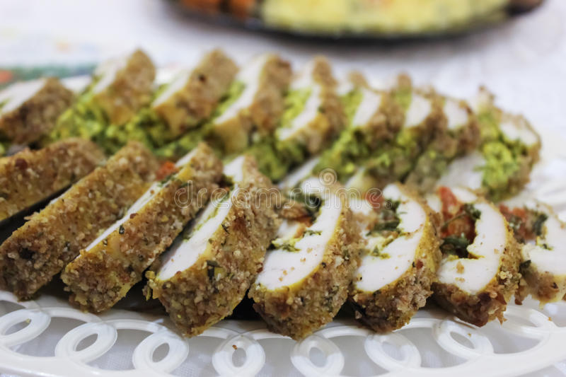 Festive chicken roll royalty free stock photography
