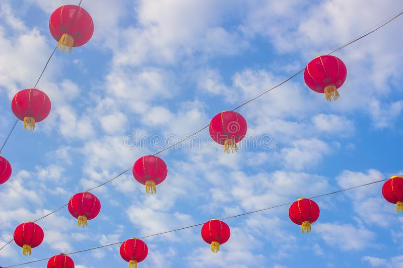 Festive chinese red lantern decorations. Background royalty free stock photography