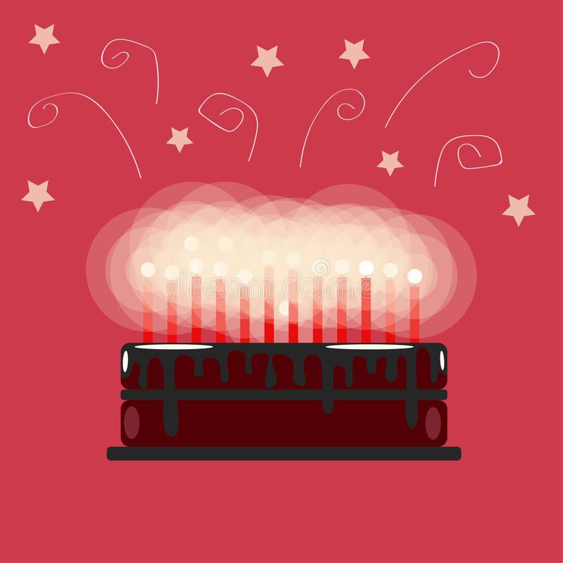Festive chocolate birthday cake with candles. On a pink background. Flat vector illustration