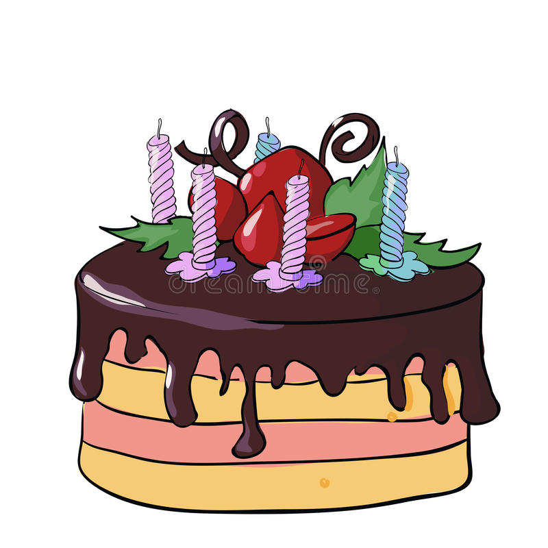 Festive chocolate cake with candles stock illustration