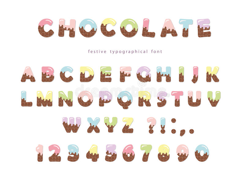 Festive chocolate font. Funny letters and numbers can be used for birthday card, Valentines day, baby shower, sweets shop, girls m. Agazine. Isolated. Vector vector illustration