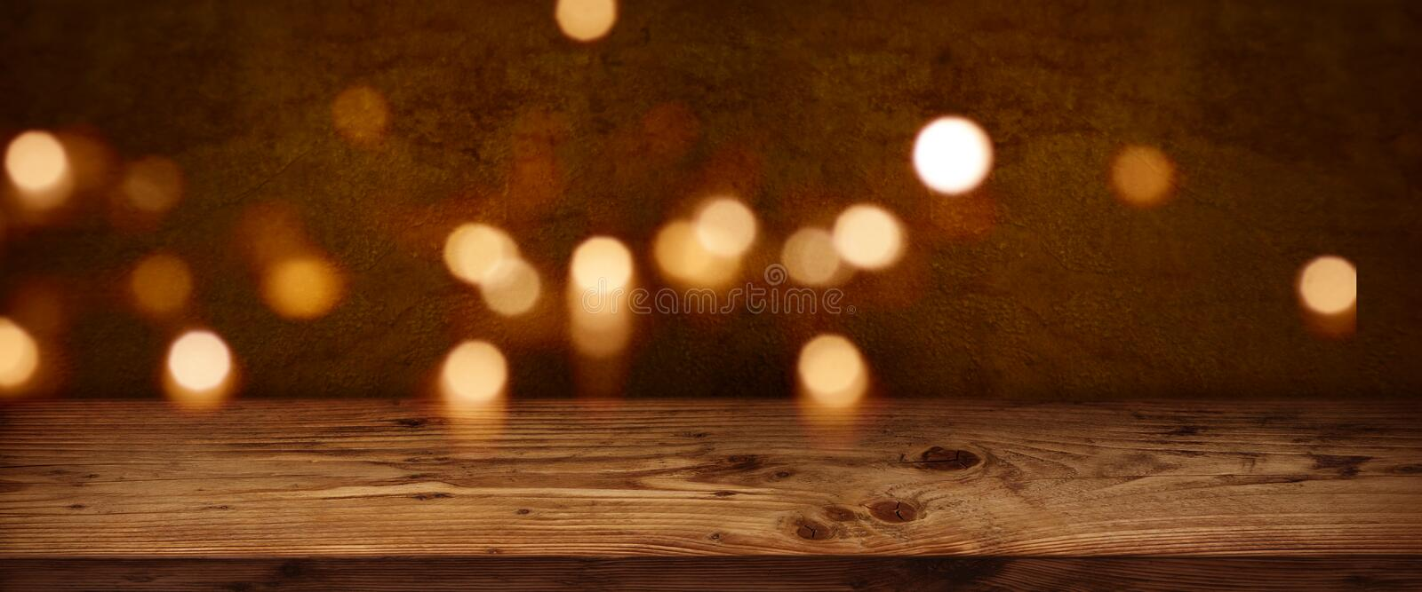 Festive christmas background with wooden table royalty free stock image