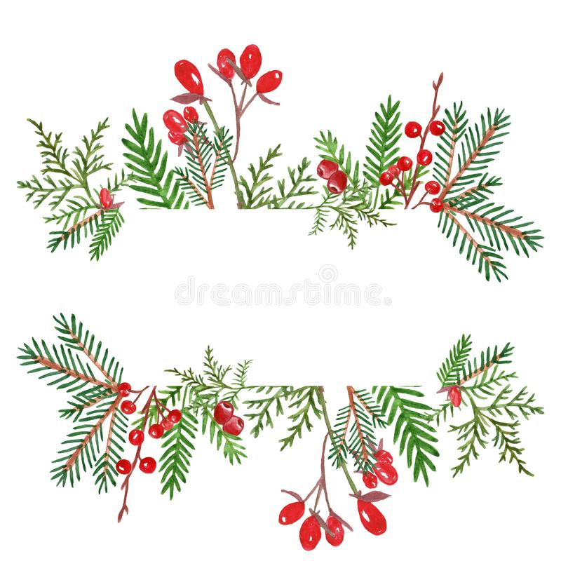 Christmas Greenery Vector.Christmas Greenery Border Stock Illustrations 258