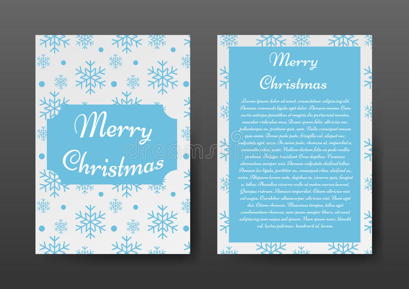 Festive Christmas Brochure with Blue Snowflakes on White Background, Greeting Card , Template. vector illustration