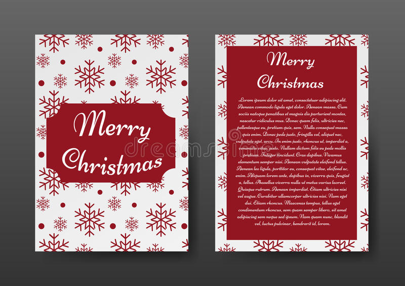 Festive Christmas Brochure with Red Snowflakes on White Background, Greeting Card , Template. vector illustration