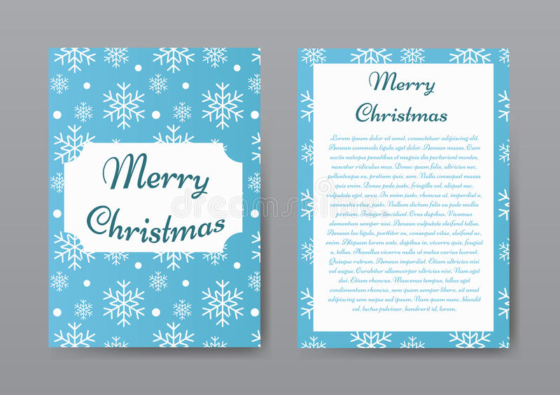 Festive Christmas Brochure with White Snowflakes on Blue Background, Greeting Card , Template. stock illustration