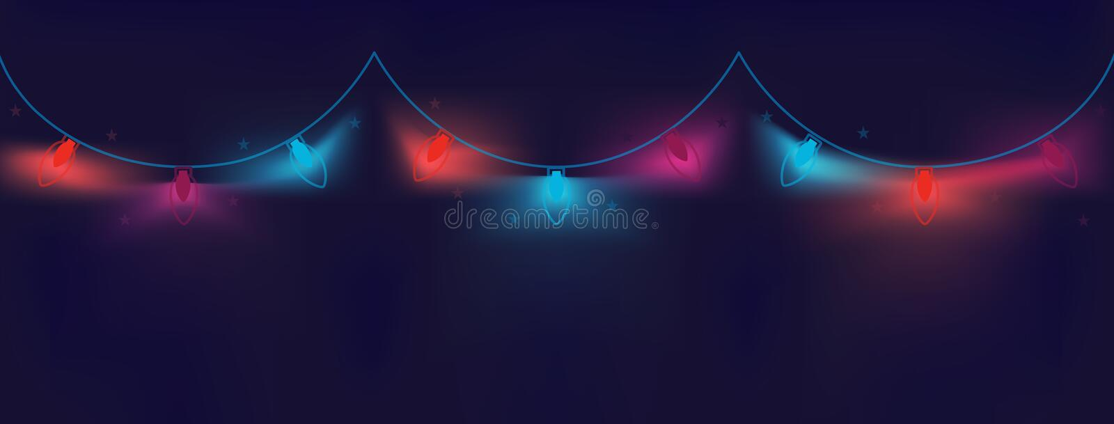 Festive Christmas colored luminous garlands of bulbs on a dark, wavy, geometric background with a gradient in neon shades royalty free illustration