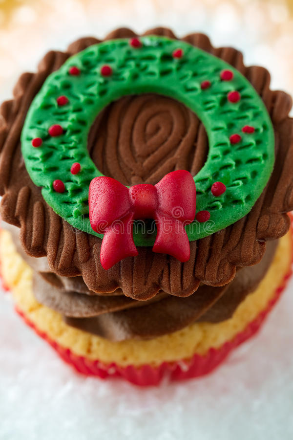 Festive Christmas cupcake royalty free stock images