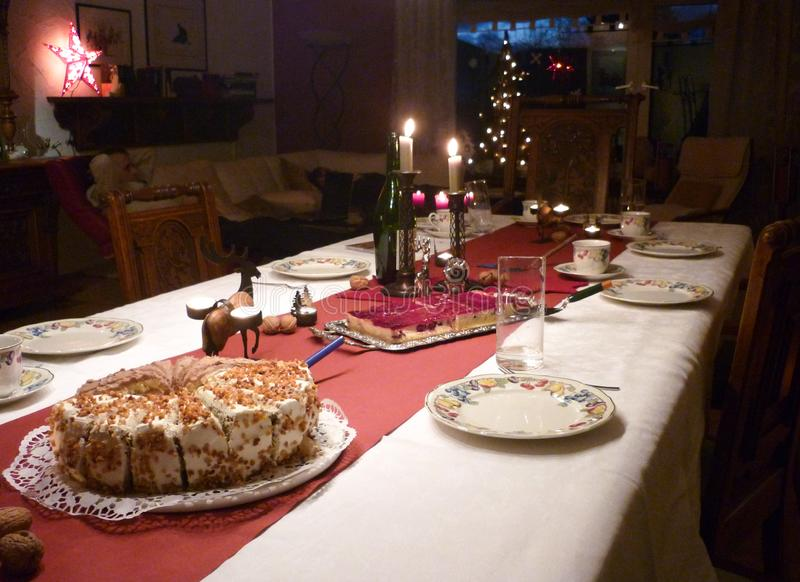 Festive Christmas decoration made up table and cakes in Fulda, Germany.  royalty free stock photo