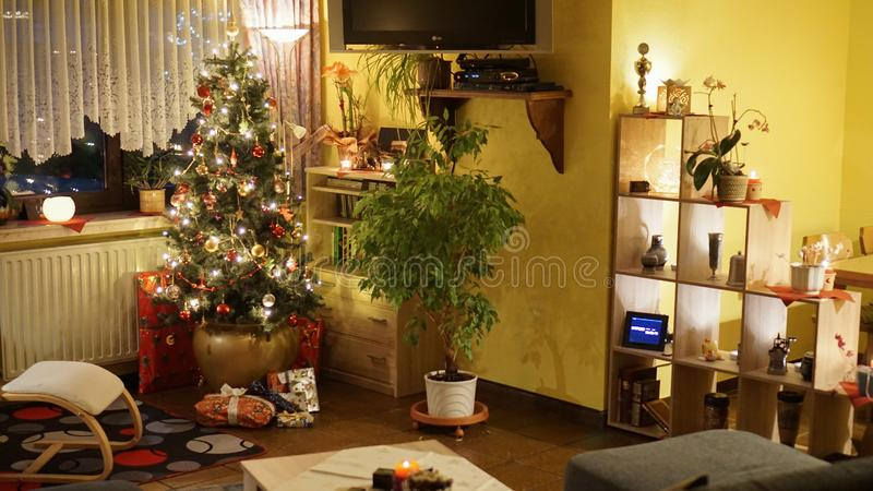 Festive Christmas decoration with Christmas Tree and Presents in Fulda, Germany.  royalty free stock photography