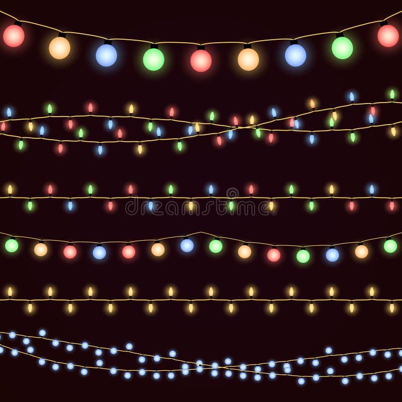 Festive christmas garland lights, fairy xmas vector decor vector illustration
