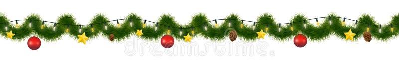 Festive Christmas garland. New Year decorative torse, Horizontally seamless festoon. royalty free illustration