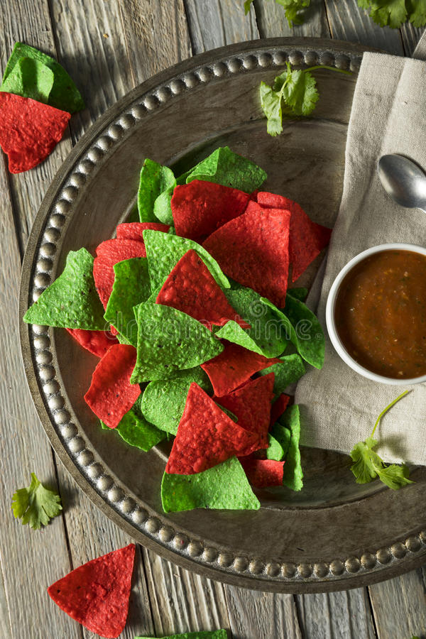 Free Festive Christmas Green And Red Tortilla Chips Royalty Free Stock Photography - 82648757