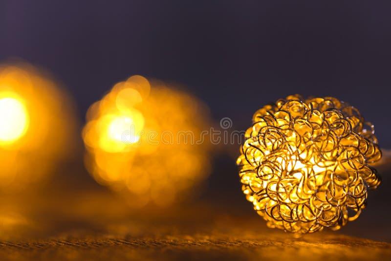 Festive Christmas lights on table,. Closeup royalty free stock photos