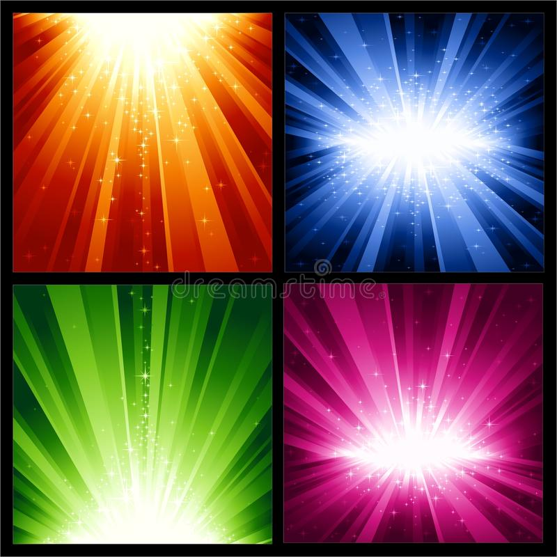 Festive Christmas, New Years explosions of light a. 4 different light bursts with magic stars in 4 interchangeable color schemes of 7 global color swatches each royalty free illustration
