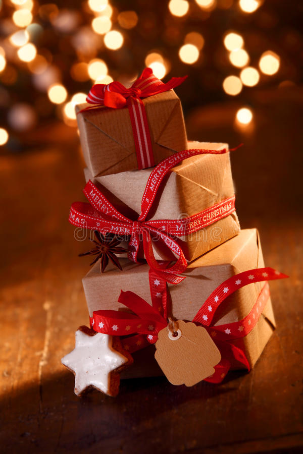 Festive Christmas party gifts stock photos