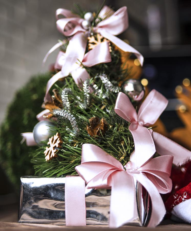Festive christmas photo in the home interior stock photography