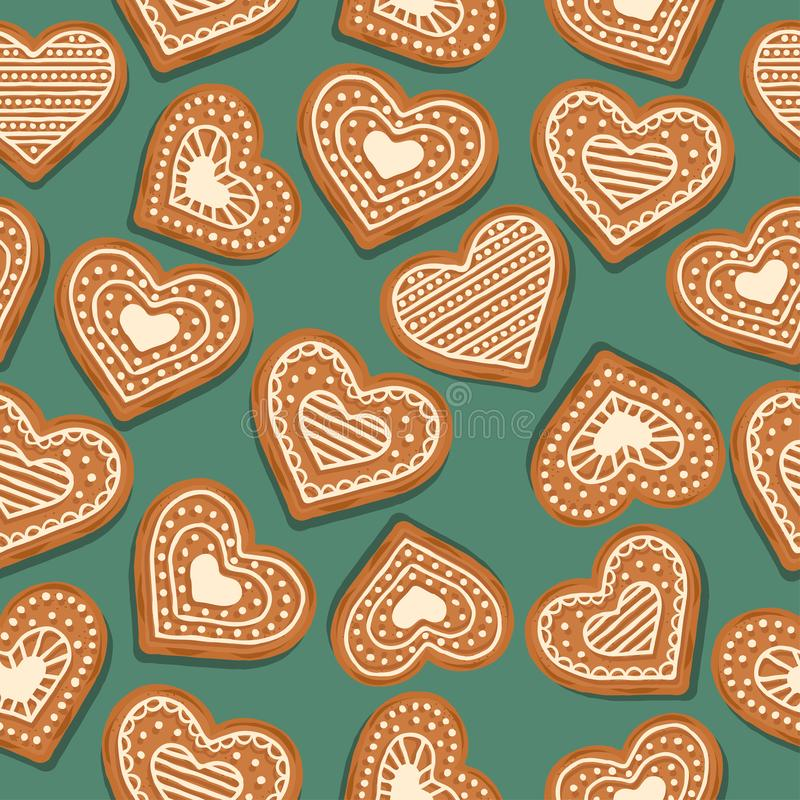 Festive Christmas seamless pattern with gingerbread hearts. On green background. Vector royalty free illustration