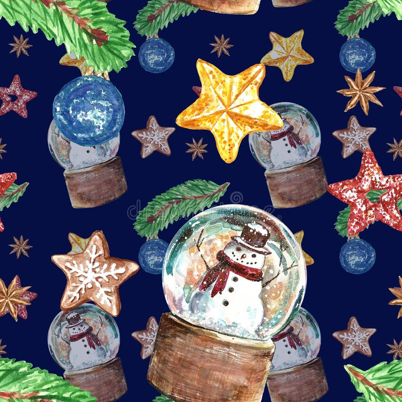 Christmas vintage style seamless pattern with snowmen in a snow globe, christmas tree pine branch, ornament, stars on dark blue vector illustration
