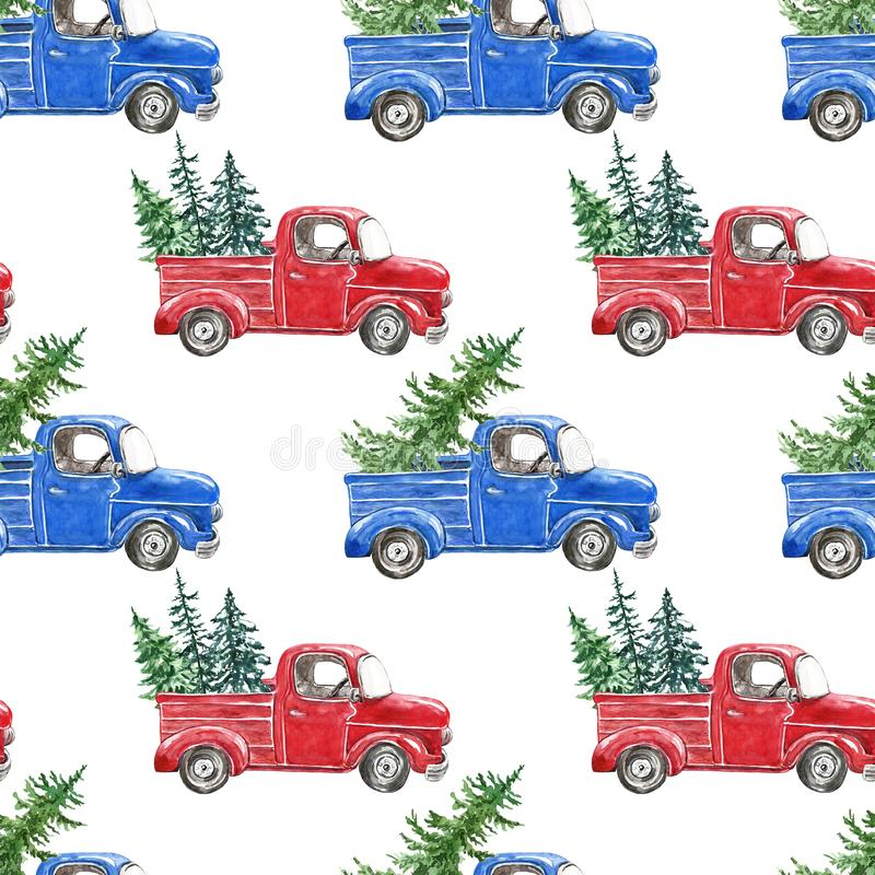 Watercolor winter seamless pattern with red and blue Christmas truck and fir pine tree on white background royalty free stock photography