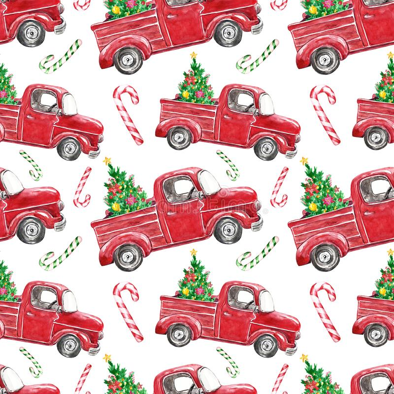 festive christmas seamless pattern watercolor red truck fir tree white background vintage car pine striped candy cane 158875583