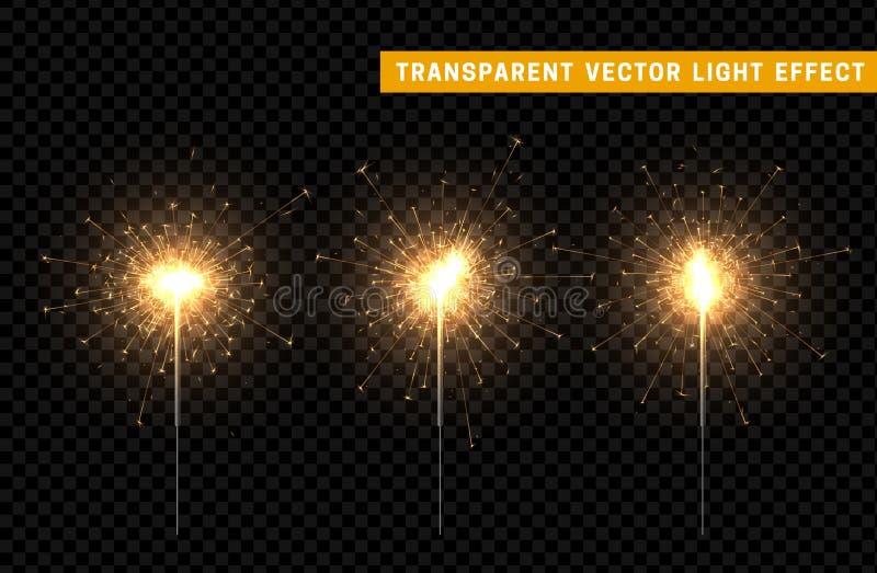 Festive Christmas sparkler decoration lighting element. stock illustration