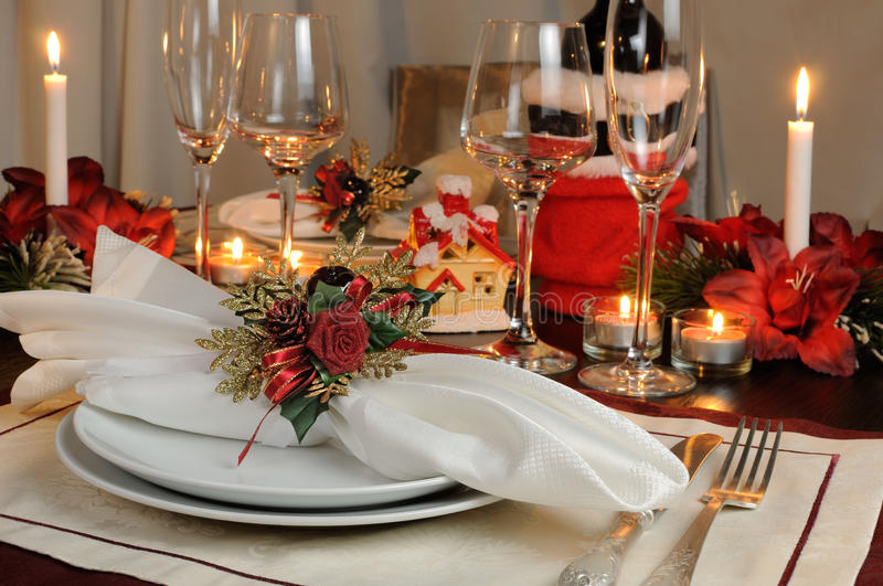 Festive Christmas table decoration stock image