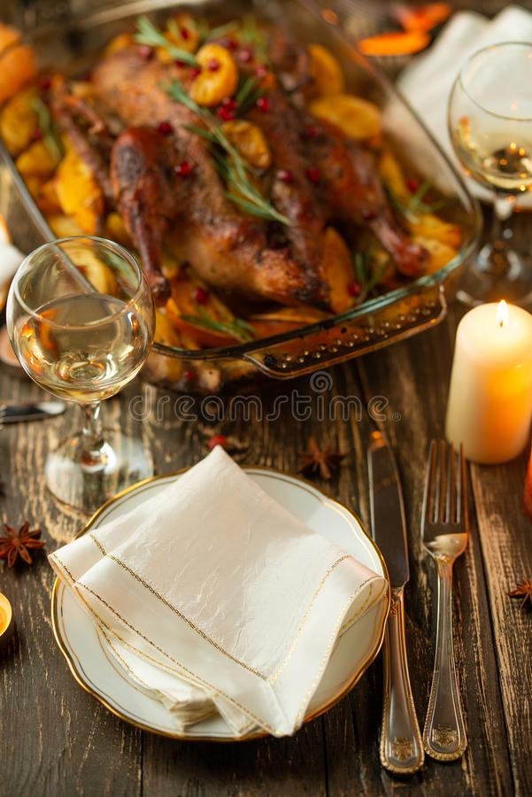 Festive Christmas table setting, happy new year and christmas royalty free stock images