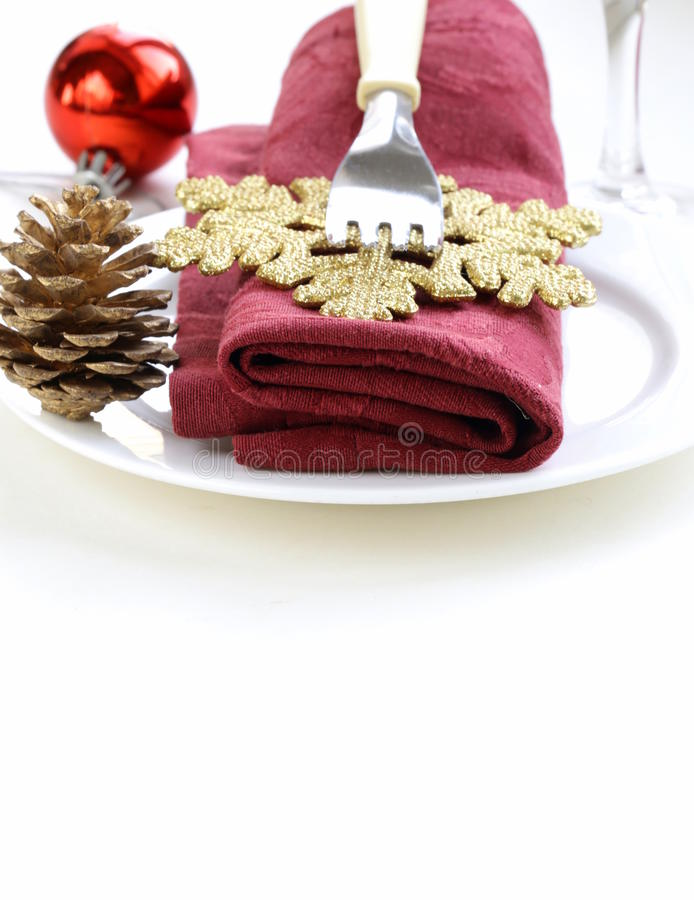 Festive Christmas Table Setting Royalty Free Stock Photo