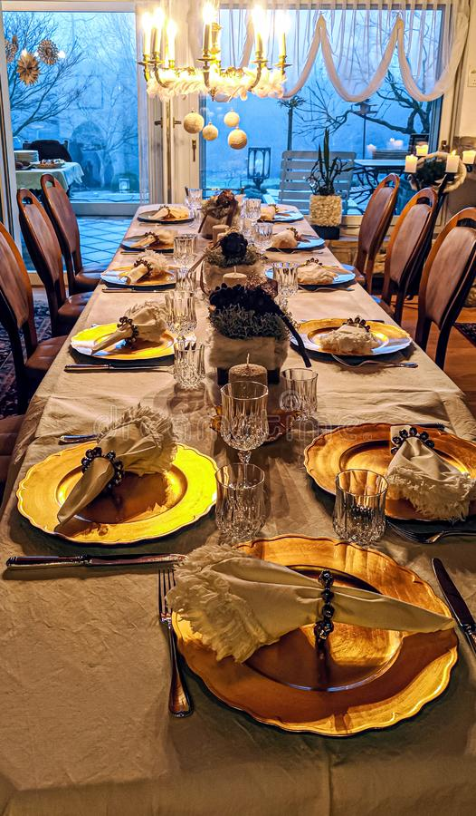 Free Festive Christmas Table With Golden Plates Stock Image - 168024141