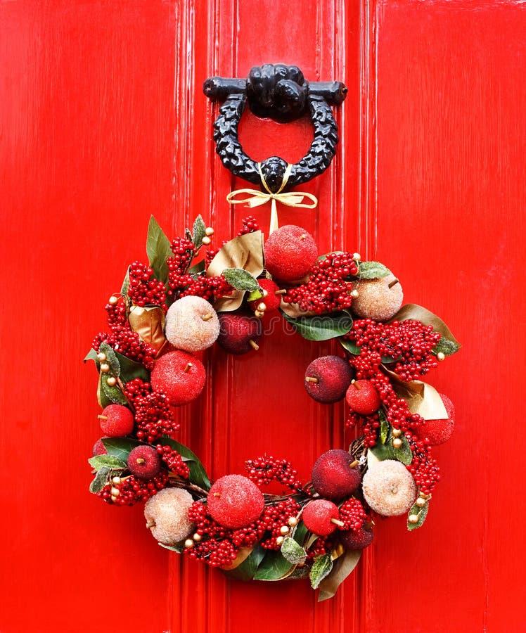 Festive Christmas wreath stock photos