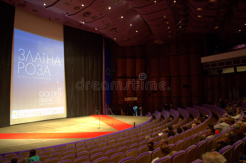 Festive cinema hall stage royalty free stock photo
