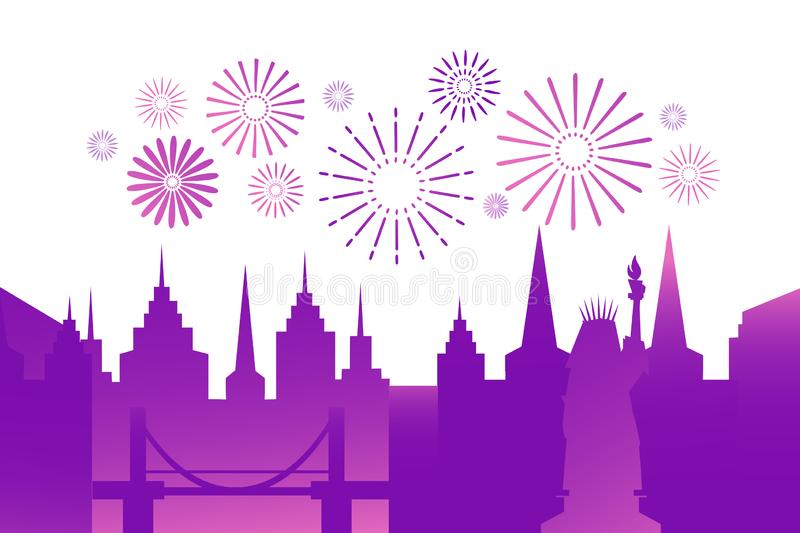 Festive city background with colorful fireworks in the sky. Modern gradient background, night town on white. Flat royalty free illustration