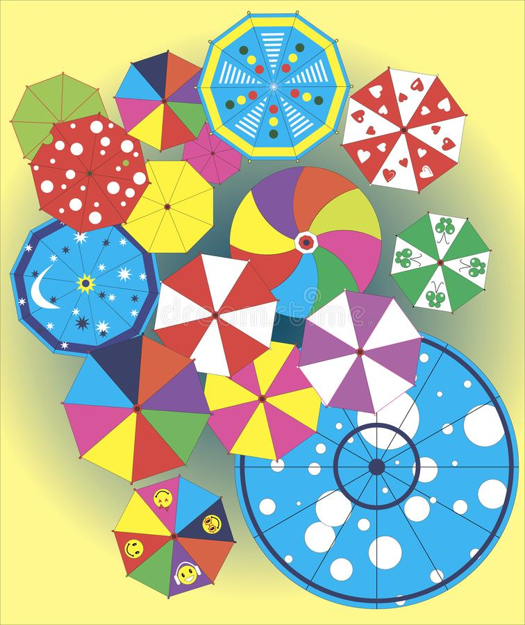 Umbrellas of positive mood. Festive colorful colored open umbrellas of positive and timorous mood royalty free illustration