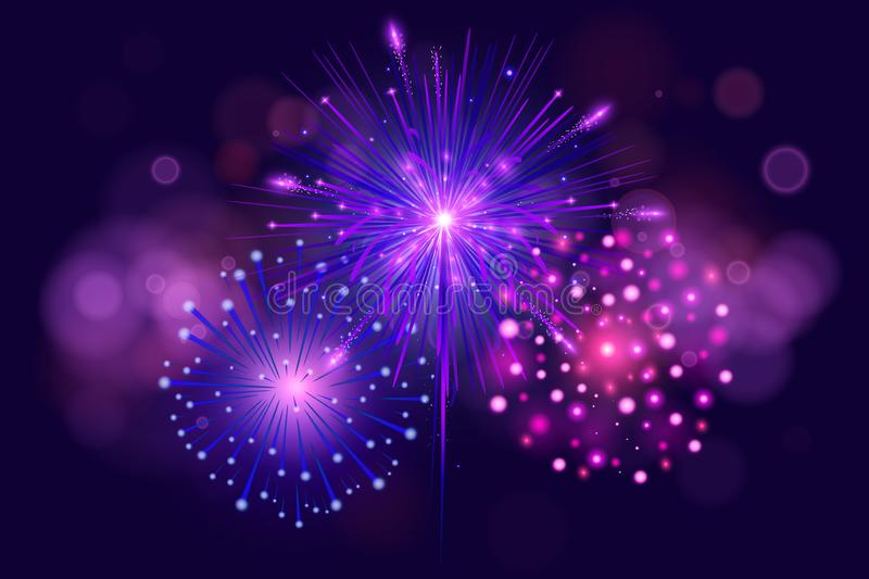 Festive Colorful fireworks on dark blue background. Set of Vector realistic fireworks illustration. New Year Christmas. Firework vector illustration