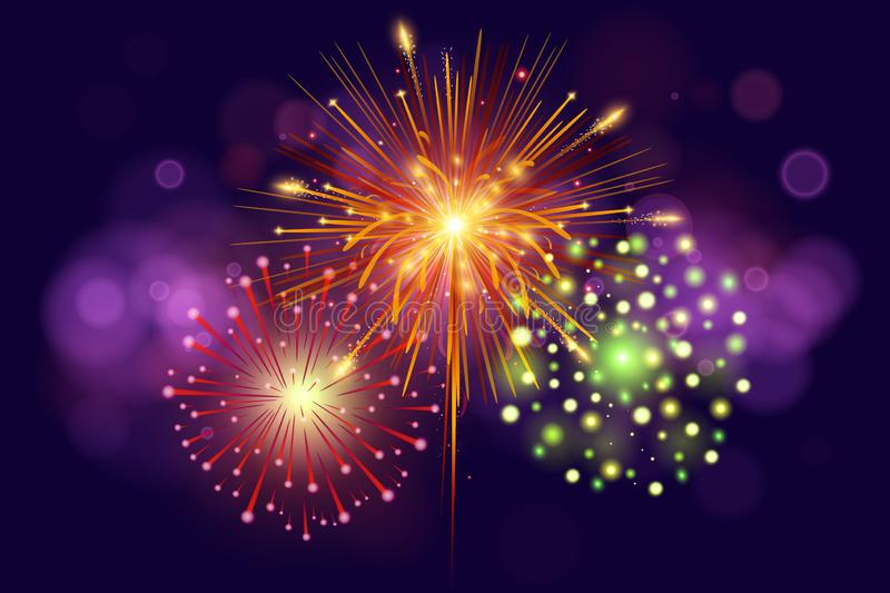 Festive Colorful fireworks on dark blue background. Set of Vector realistic fireworks illustration. New Year Christmas. Firework stock illustration