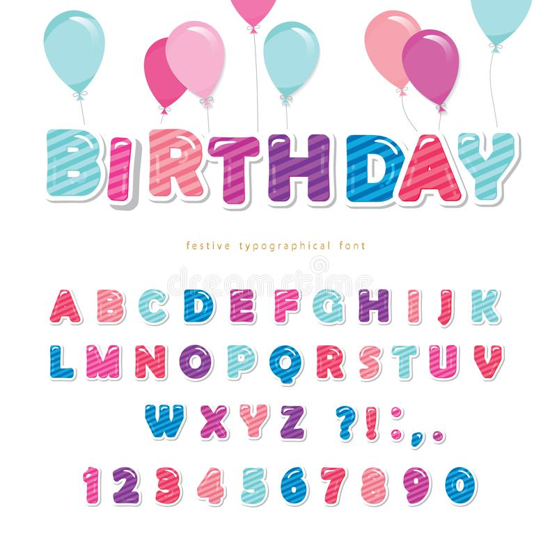 Festive colorful paper cutout font. Bright cartoon ABC letters and numbers isolated on white. For birthday posters, banners, vector illustration