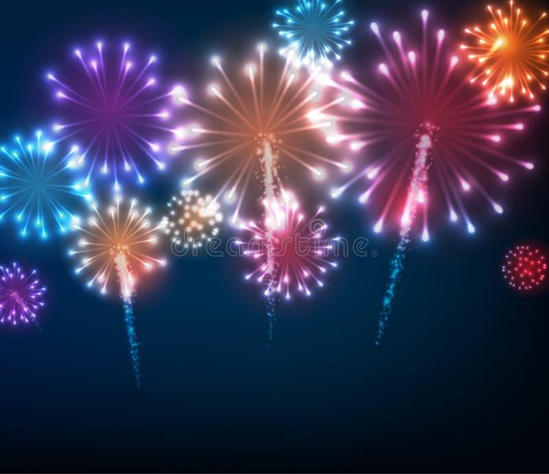 Festive colour firework background. Vector illustration stock illustration