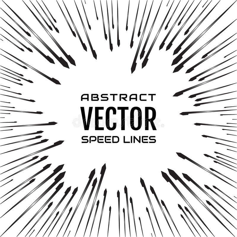 Festive comic radial speed line with gradient rays and hard stroke on white background, like fireworks. Effect power explosion illustration. Design element royalty free illustration