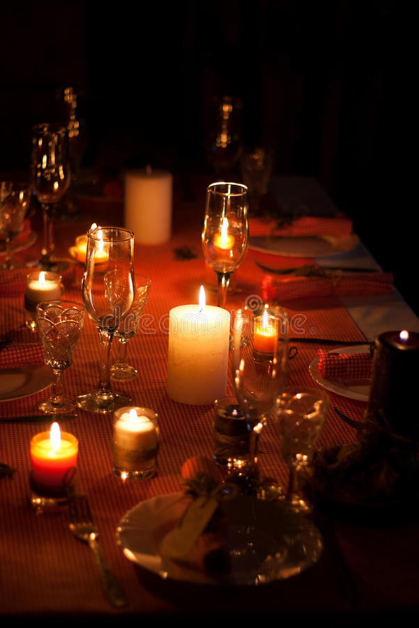 Festive Composition With Candles And Plates. Table Decoration. A ...