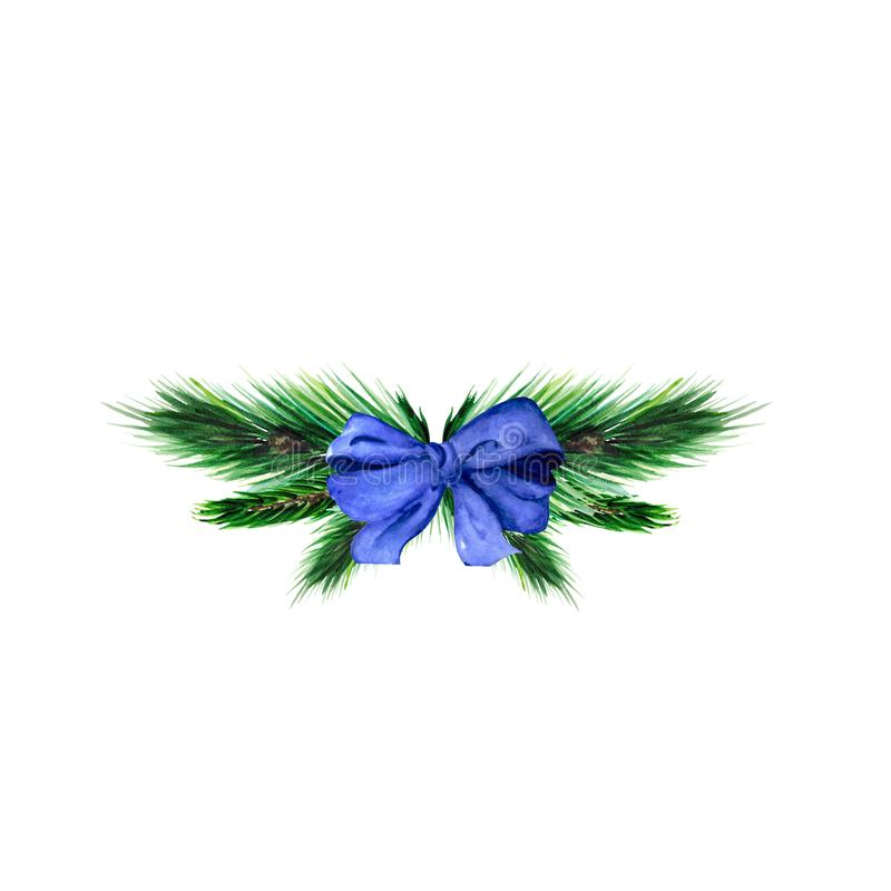 Festive composition with Christmas tree branches and a blue bow. stock photos