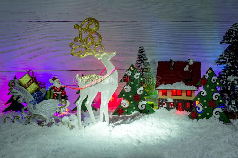 Christmas Composition Santa Claus In A Sleigh With Gifts A