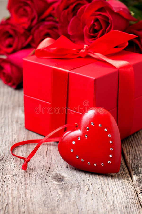 Download Festive Composition With Heart And Roses Stock Photo - Image: 83703389
