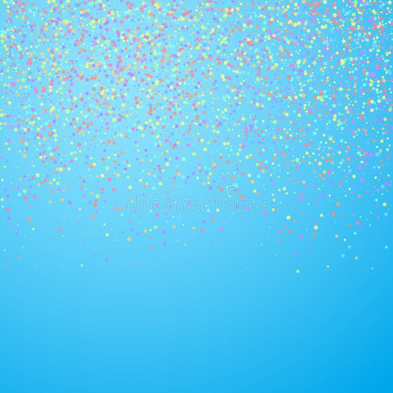 Festive confetti. Celebration stars. Colorful star. S small on blue sky background. Classic festive overlay template. Posh vector illustration vector illustration